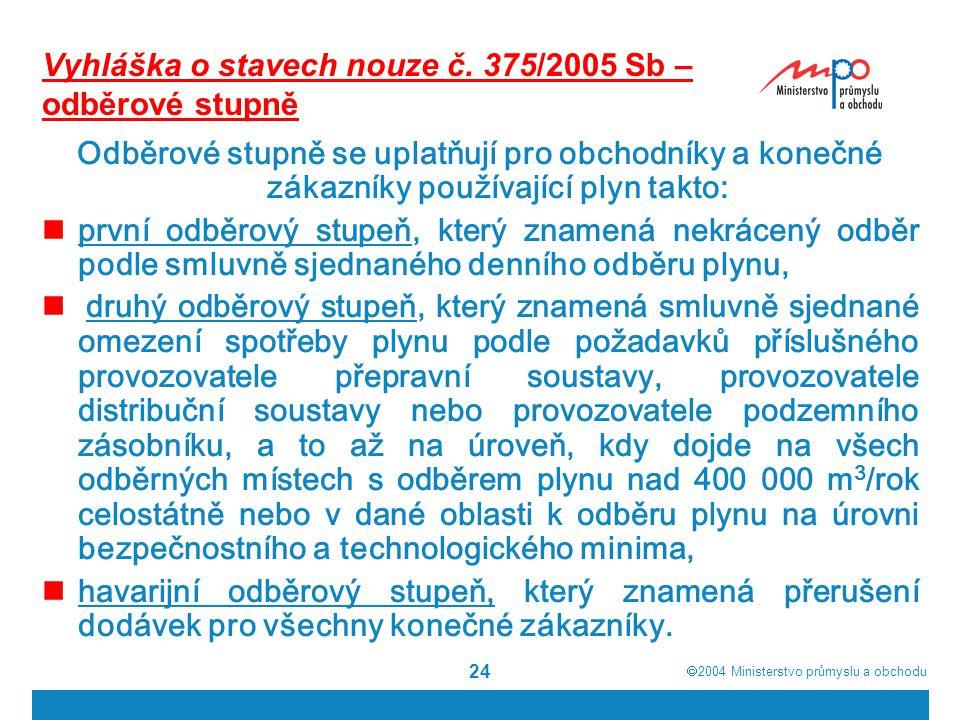 2004  Ministerstvo průmyslu a obchodu 24 Vyhláška o stavech nouze č.