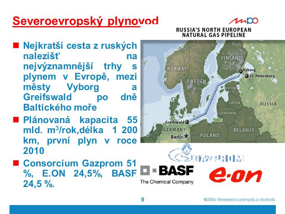  2004  Ministerstvo průmyslu a obchodu 9 Severoevropský plynovod Nejkratší cesta z ruských nalezišť na nejvýznamnější trhy s plynem v Evropě, mezi městy Vyborg a Greifswald po dně Baltického moře Plánovaná kapacita 55 mld.