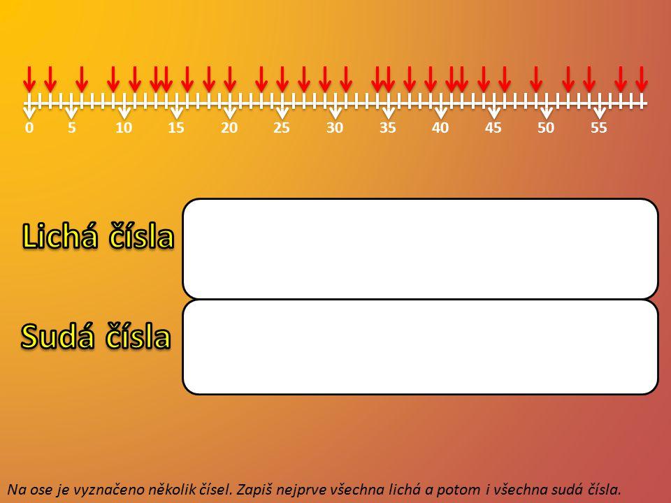 0515102025303540455055 Na ose je vyznačeno několik čísel. Zapiš nejprve všechna lichá a potom i všechna sudá čísla. 3 11 35 9 31 13 23 39 37 27 41 25