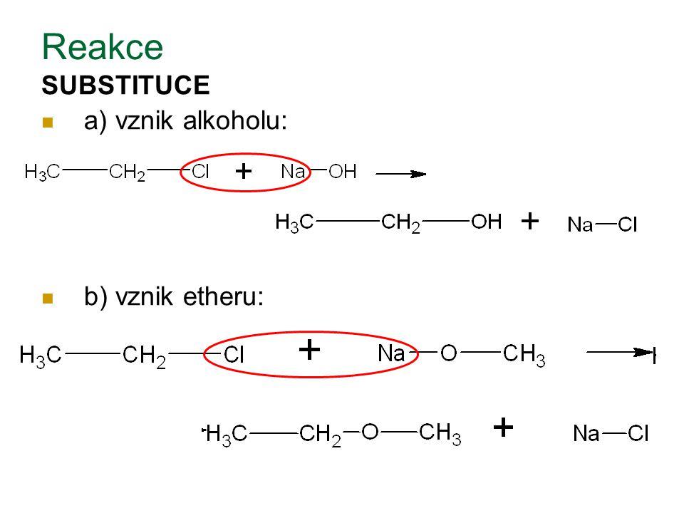 Reakce SUBSTITUCE a) vznik alkoholu: b) vznik etheru:
