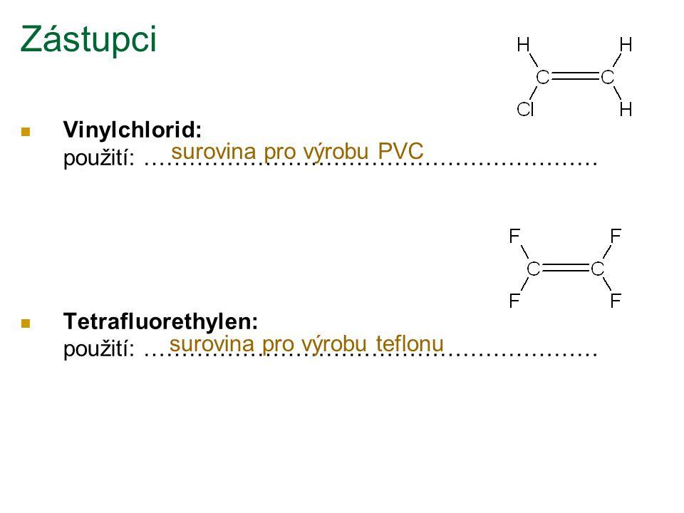 Vinylchlorid: použití: …………………………………………………… Tetrafluorethylen: použití: …………………………………………………… Zástupci surovina pro výrobu PVC surovina pro výrobu tefl