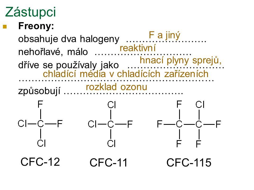 Freony: obsahuje dva halogeny ……………………. nehořlavé, málo ………………………… dříve se používaly jako ………………………… …………………………………………………… způsobují ………………………………. Zás