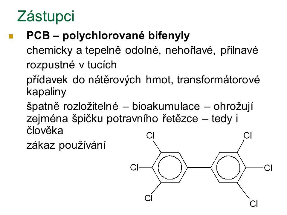 PCB – polychlorované bifenyly chemicky a tepelně odolné, nehořlavé, přilnavé rozpustné v tucích přídavek do nátěrových hmot, transformátorové kapaliny