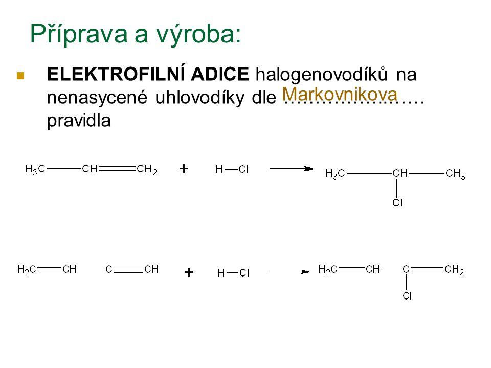 Příprava a výroba: ELEKTROFILNÍ ADICE halogenovodíků na nenasycené uhlovodíky dle ……………..…… pravidla Markovnikova