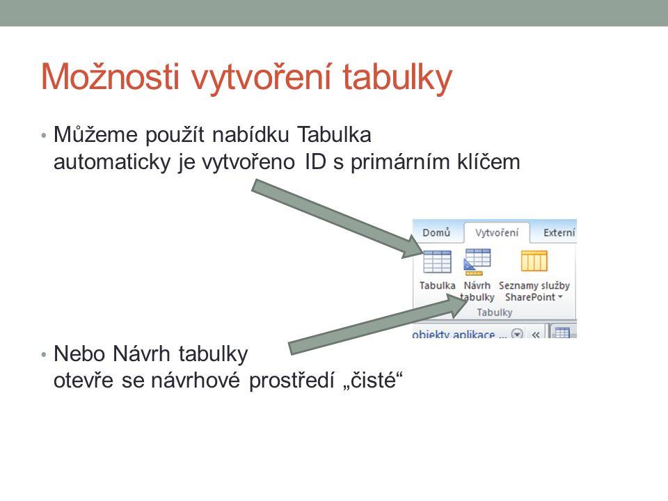 """Možnosti vytvoření tabulky Můžeme použít nabídku Tabulka automaticky je vytvořeno ID s primárním klíčem Nebo Návrh tabulky otevře se návrhové prostředí """"čisté"""