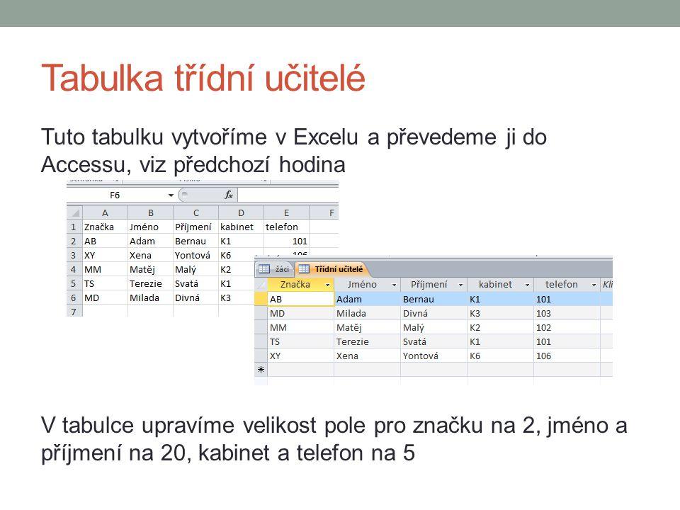 Tabulka třídní učitelé Tuto tabulku vytvoříme v Excelu a převedeme ji do Accessu, viz předchozí hodina V tabulce upravíme velikost pole pro značku na 2, jméno a příjmení na 20, kabinet a telefon na 5