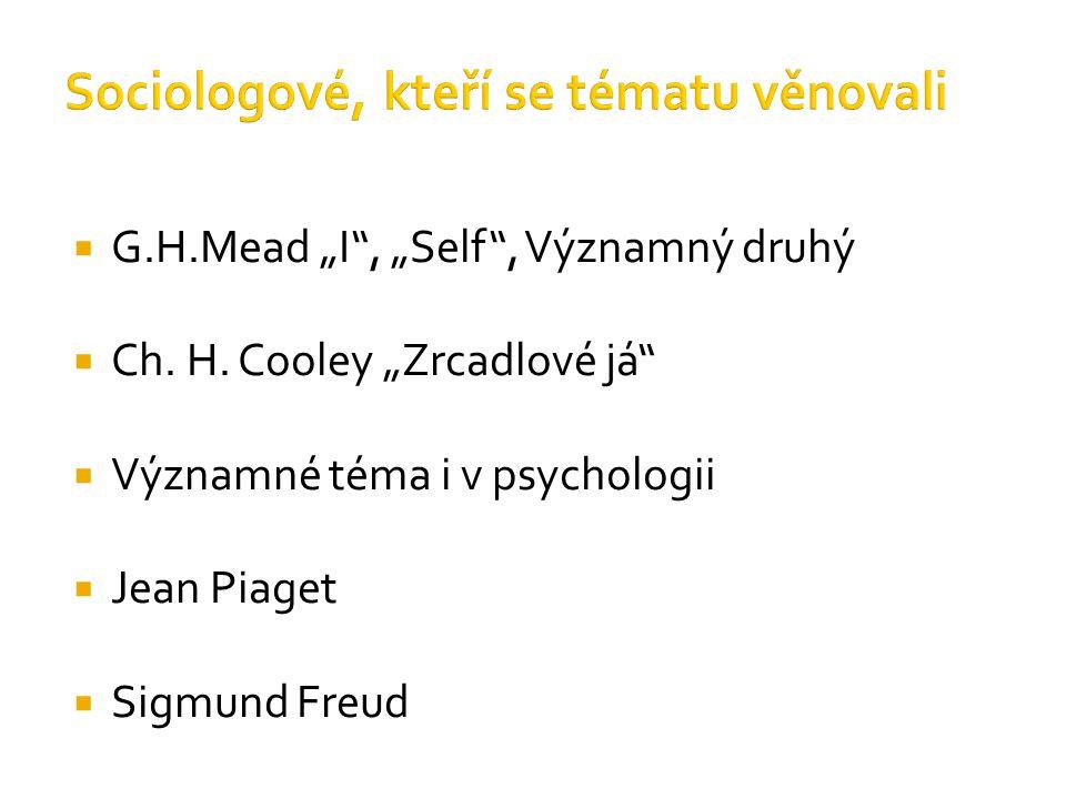""" G.H.Mead """"I"""", """"Self"""", Významný druhý  Ch. H. Cooley """"Zrcadlové já""""  Významné téma i v psychologii  Jean Piaget  Sigmund Freud"""