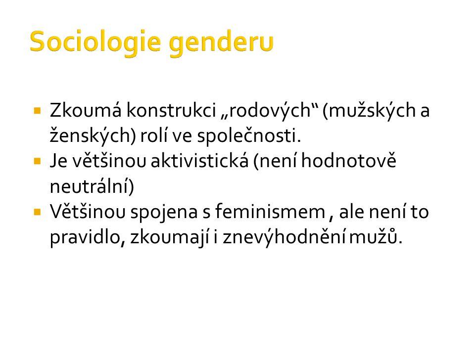 """ Zkoumá konstrukci """"rodových"""" (mužských a ženských) rolí ve společnosti.  Je většinou aktivistická (není hodnotově neutrální)  Většinou spojena s f"""