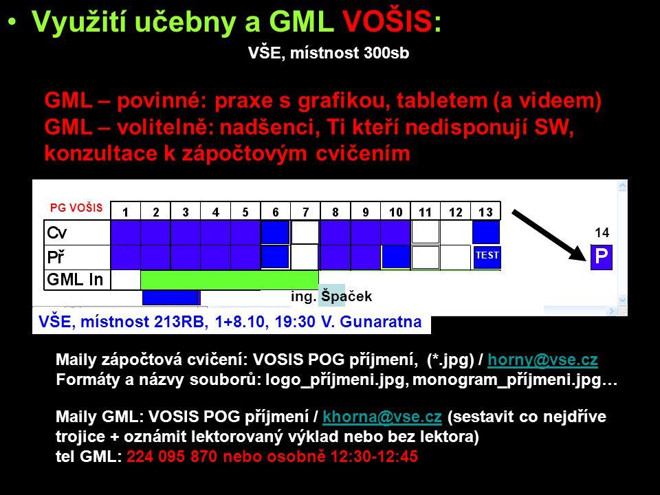 Využití učebny a GML VOŠIS: učebna: –všichni studenti - WF bitmap, tipy a triky s bitmapama GML: –povinně všichni studenti: »základy práce se střihovými programy »import videa a RAWů »základy ovládání kamery –volitelné pro laiky: »základy ovládání fototechniky »základy fotografování »základy počítačové grafiky –týmy povinně: »nafocení, nafilmování, tvorba grafiky zdrojových dat »vytvoření finálního výstupu VŠE, místnost 300sb Maily zápočtová cvičení: VOSIS POG příjmení, (*.jpg) / horny@vse.cz Formáty a názvy souborů: logo_příjmeni.jpg, monogram_příjmeni.jpg…horny@vse.cz Maily GML: VOSIS POG příjmení / khorna@vse.cz (sestavit co nejdříve trojice + oznámit lektorovaný výklad nebo bez lektora)khorna@vse.cz tel GML: 224 095 870 nebo osobně 12:30-12:45 GML – povinné: praxe s grafikou, tabletem (a videem) GML – volitelně: nadšenci, Ti kteří nedisponují SW, konzultace k zápočtovým cvičením VŠE, místnost 213RB, 1+8.10, 19:30 V.