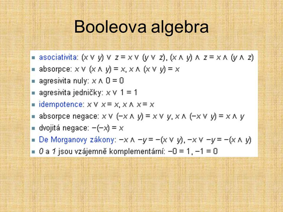 Booleova algebra Pro Booleovu algebru A a každé x, y, z ∈ A platí: asociativita: (x ∨ y) ∨ z = x ∨ (y ∨ z), (x ∧ y) ∧ z = x ∧ (y ∧ z)asociativita abso