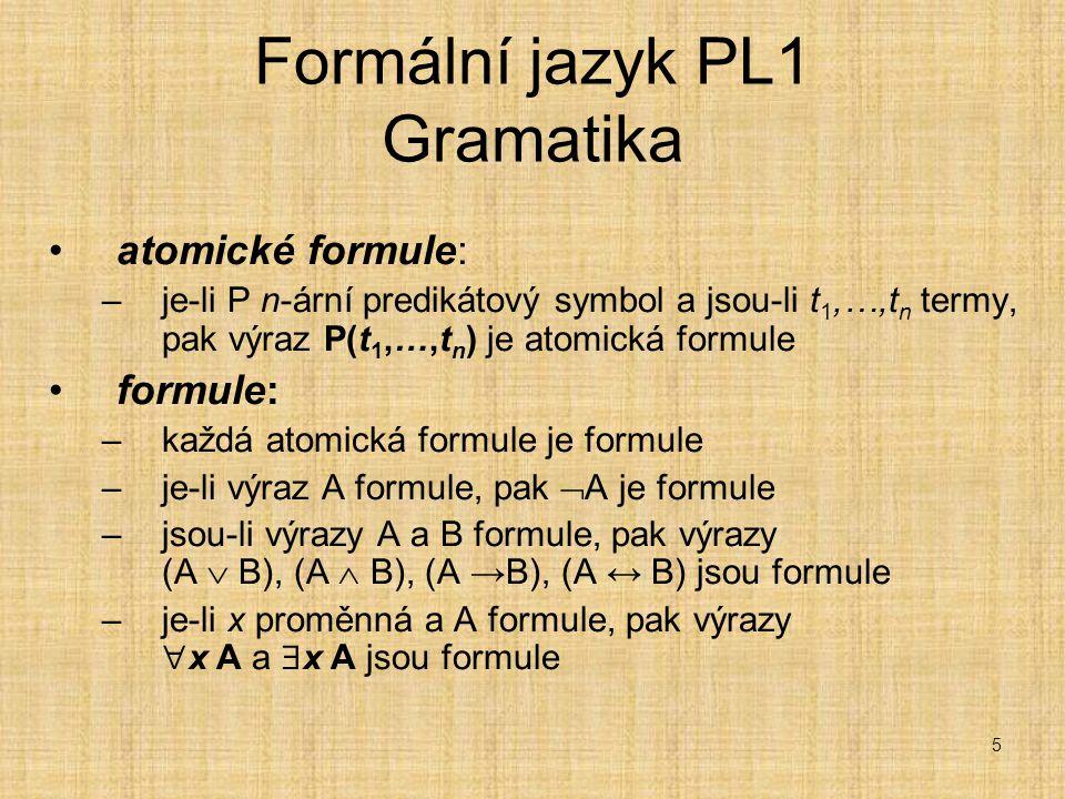 5 Formální jazyk PL1 Gramatika atomické formule: –je-li P n-ární predikátový symbol a jsou-li t 1,…,t n termy, pak výraz P(t 1,…,t n ) je atomická formule formule: –každá atomická formule je formule –je-li výraz A formule, pak  A je formule –jsou-li výrazy A a B formule, pak výrazy (A  B), (A  B), (A →B), (A ↔ B) jsou formule –je-li x proměnná a A formule, pak výrazy  x A a  x A jsou formule