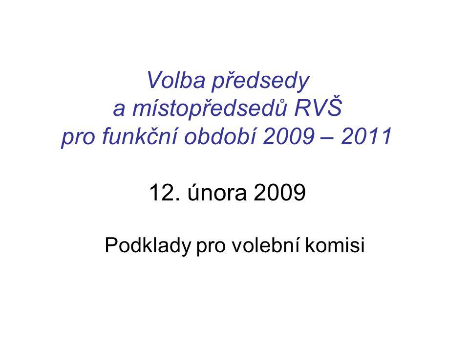 Volba předsedy a místopředsedů RVŠ pro funkční období 2009 – 2011 12.