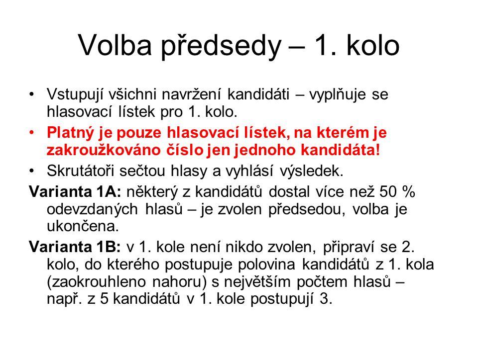 Volba předsedy – 1.kolo Vstupují všichni navržení kandidáti – vyplňuje se hlasovací lístek pro 1.