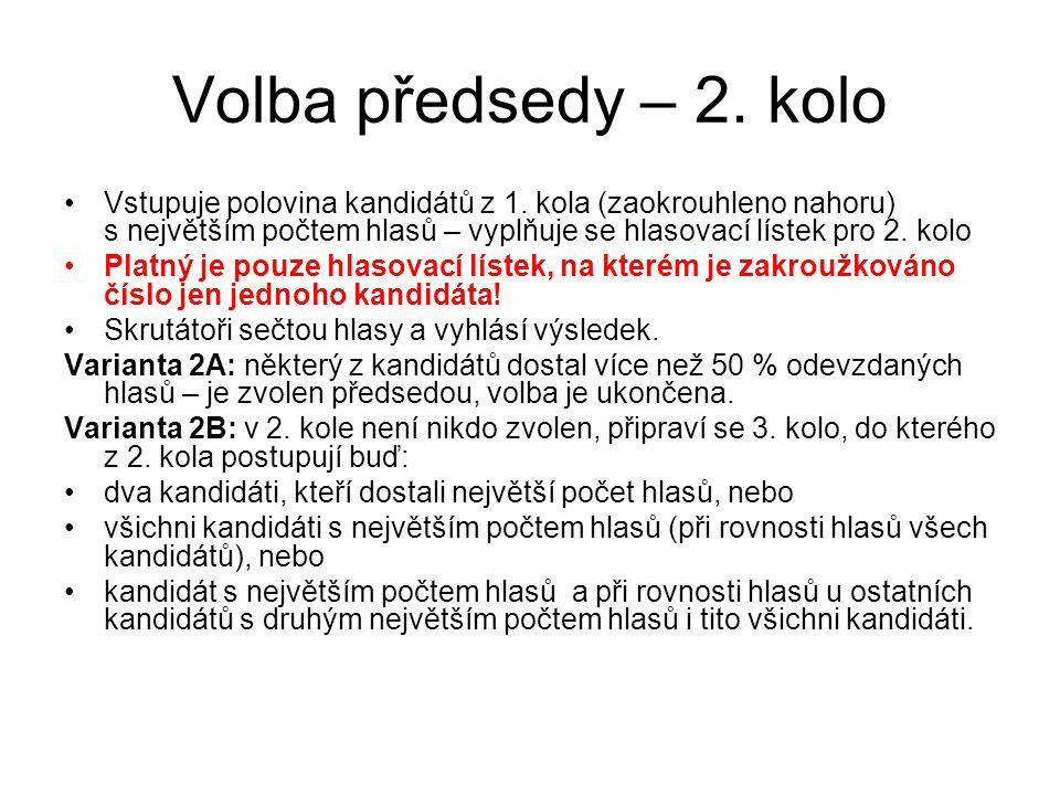 Volba předsedy – 2. kolo Vstupuje polovina kandidátů z 1.