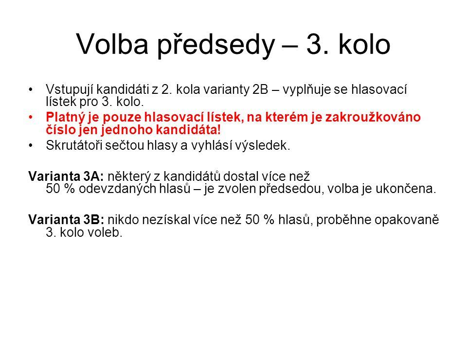 Volba předsedy – 3.kolo Vstupují kandidáti z 2.
