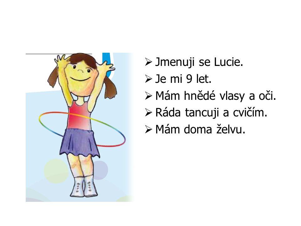  Jmenuji se Lucie.  Je mi 9 let.  Mám hnědé vlasy a oči.