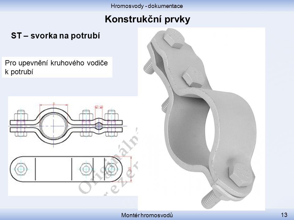 Hromosvody - dokumentace Montér hromosvodů 13 ST – svorka na potrubí Pro upevnění kruhového vodiče k potrubí