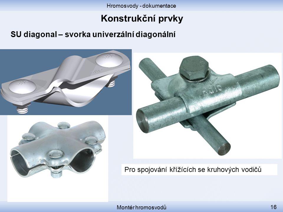 Hromosvody - dokumentace Montér hromosvodů 16 SU diagonal – svorka univerzální diagonální Pro spojování křížících se kruhových vodičů