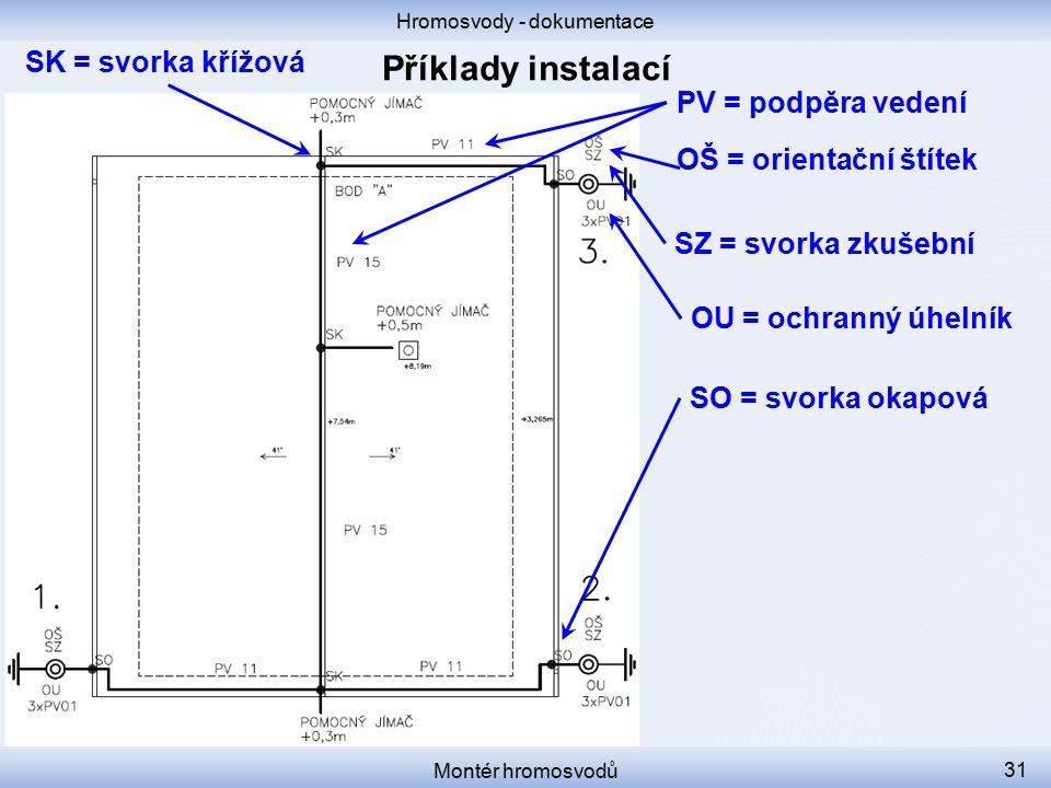 Hromosvody - dokumentace Montér hromosvodů 31 SK = svorka křížová PV = podpěra vedení OŠ = orientační štítek SZ = svorka zkušební OU = ochranný úhelní