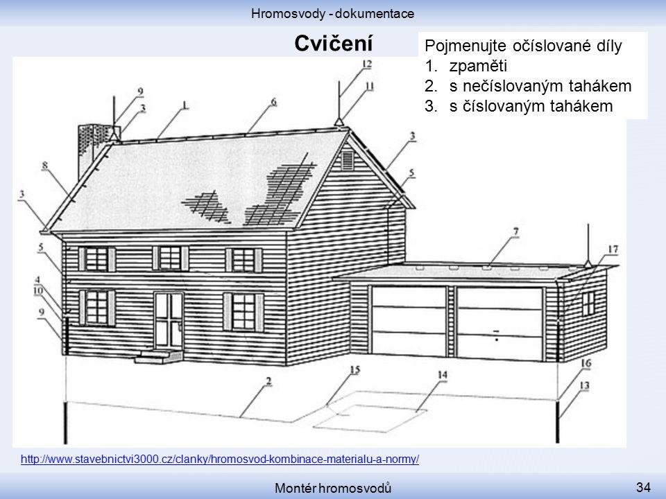 Hromosvody - dokumentace Montér hromosvodů 34 http://www.stavebnictvi3000.cz/clanky/hromosvod-kombinace-materialu-a-normy/ Pojmenujte očíslované díly