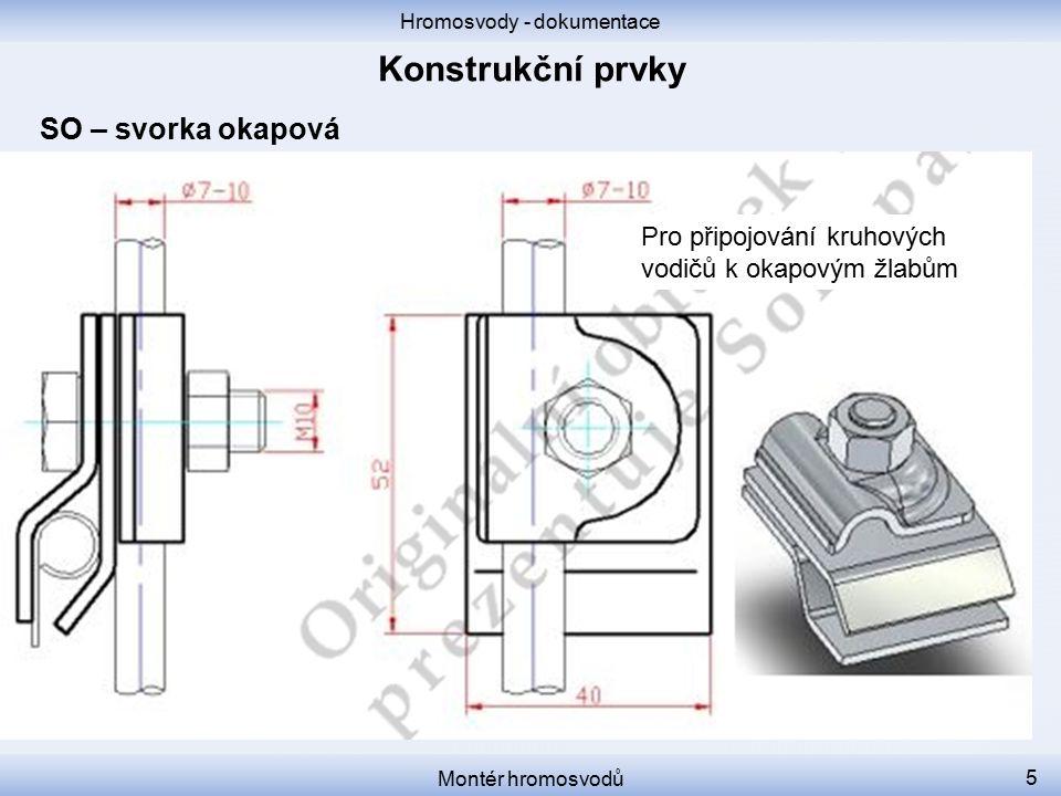 Hromosvody - dokumentace Montér hromosvodů 6 SK – svorka křížová Pro křížové propojování kruhových vodičů