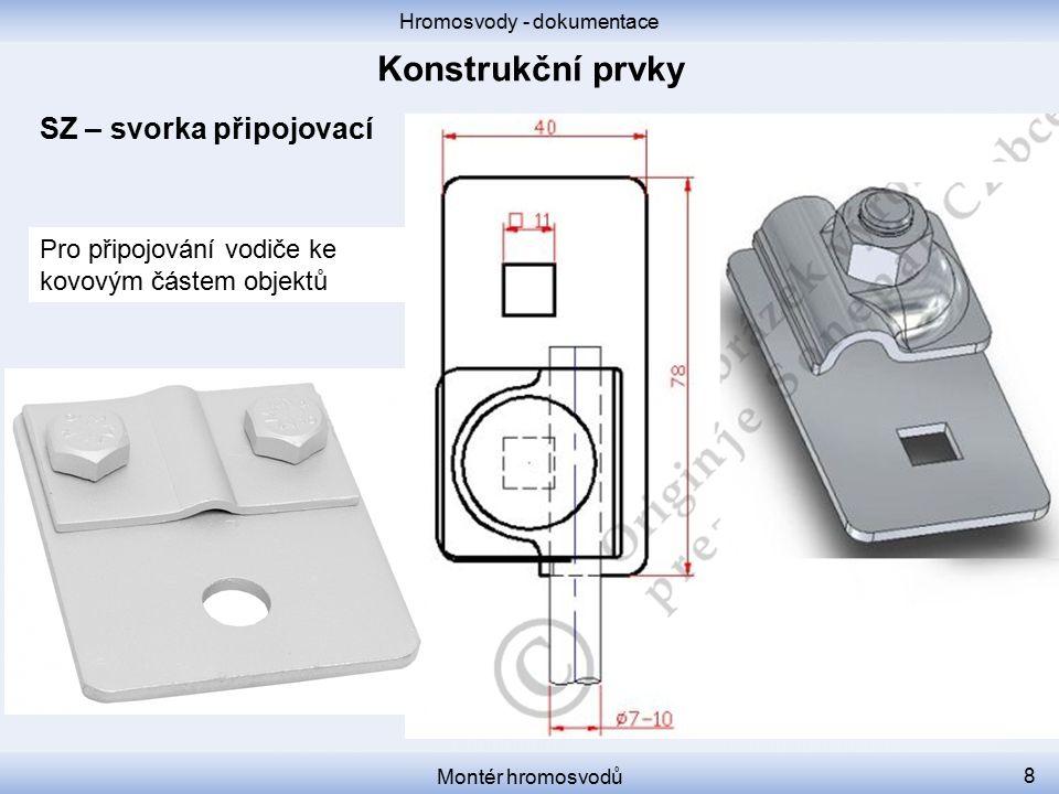 Hromosvody - dokumentace Montér hromosvodů 8 SZ – svorka připojovací Pro připojování vodiče ke kovovým částem objektů