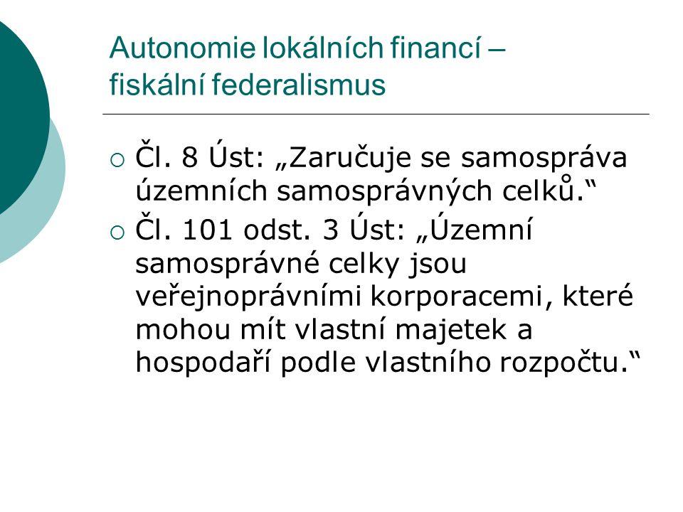 Autonomie lokálních financí – fiskální federalismus  Čl.