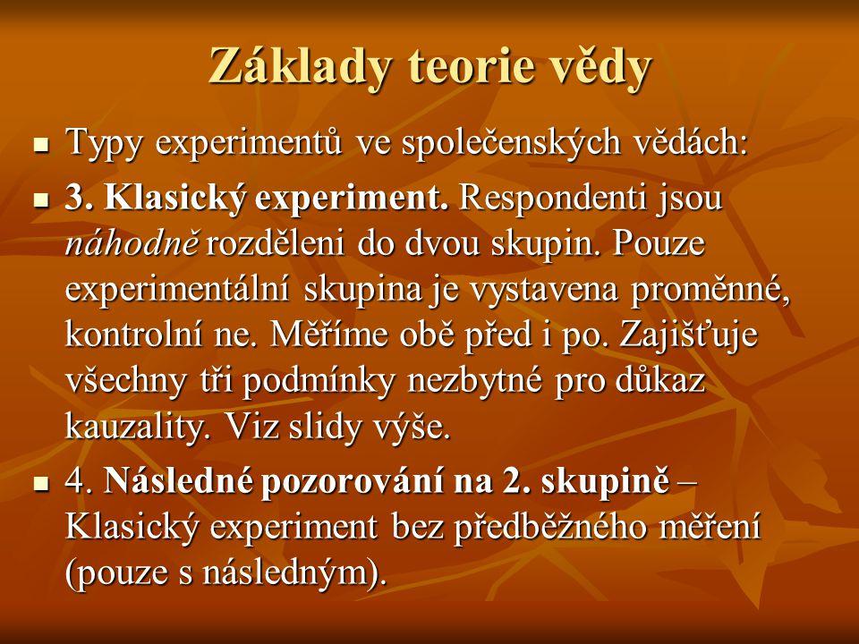Základy teorie vědy Typy experimentů ve společenských vědách: Typy experimentů ve společenských vědách: 3.