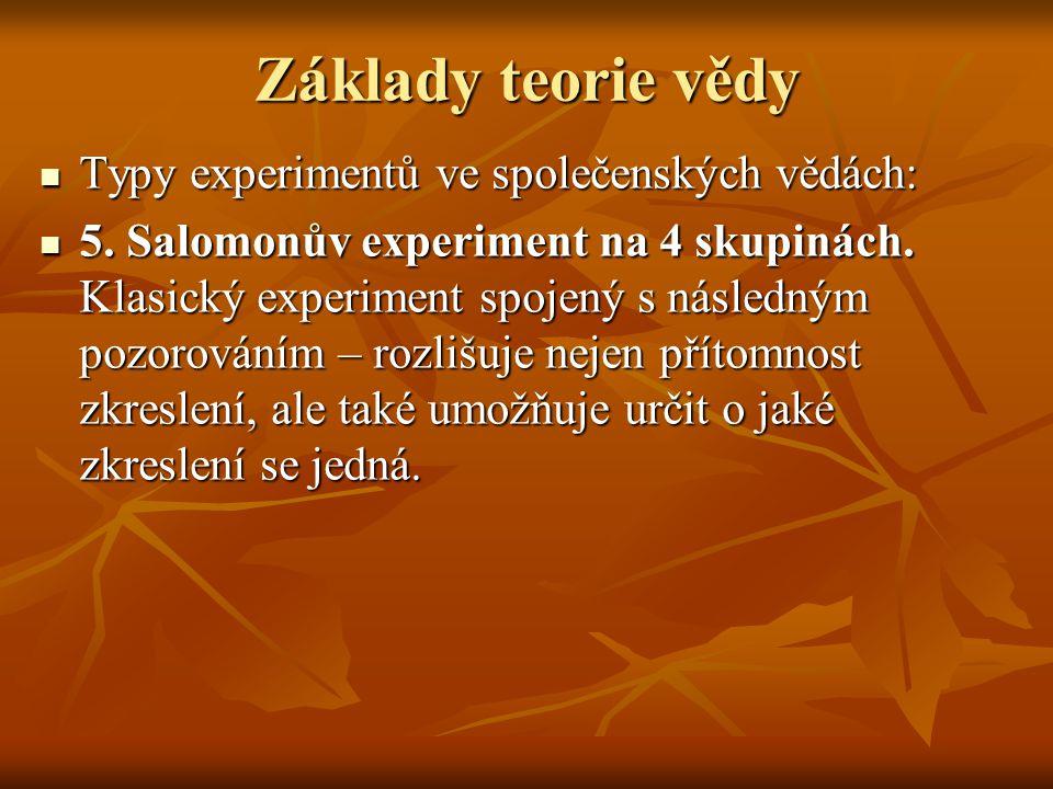 Základy teorie vědy Typy experimentů ve společenských vědách: Typy experimentů ve společenských vědách: 5.