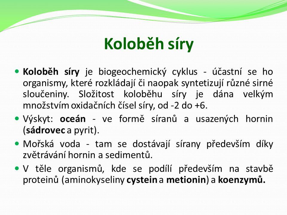 Koloběh síry Koloběh síry je biogeochemický cyklus - účastní se ho organismy, které rozkládají či naopak syntetizují různé sirné sloučeniny. Složitost