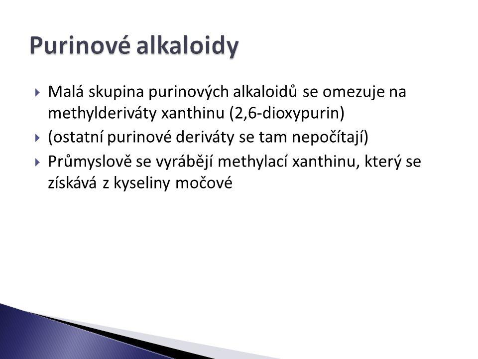  Malá skupina purinových alkaloidů se omezuje na methylderiváty xanthinu (2,6-dioxypurin)  (ostatní purinové deriváty se tam nepočítají)  Průmyslově se vyrábějí methylací xanthinu, který se získává z kyseliny močové