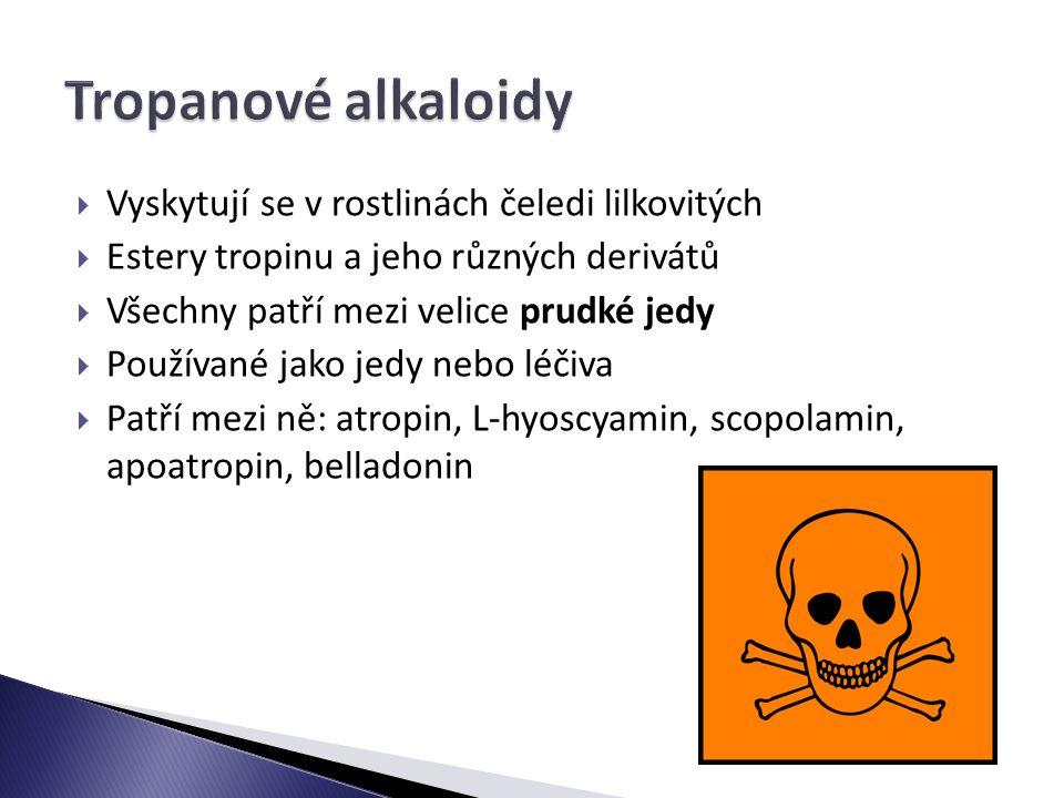  Vyskytují se v rostlinách čeledi lilkovitých  Estery tropinu a jeho různých derivátů  Všechny patří mezi velice prudké jedy  Používané jako jedy nebo léčiva  Patří mezi ně: atropin, L-hyoscyamin, scopolamin, apoatropin, belladonin