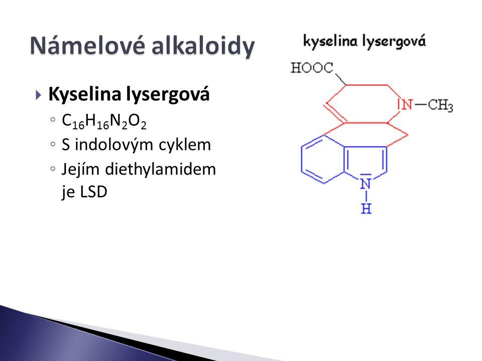  Kyselina lysergová ◦ C 16 H 16 N 2 O 2 ◦ S indolovým cyklem ◦ Jejím diethylamidem je LSD