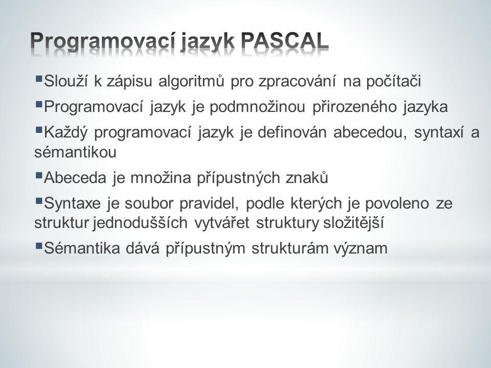  Slouží k zápisu algoritmů pro zpracování na počítači  Programovací jazyk je podmnožinou přirozeného jazyka  Každý programovací jazyk je definován
