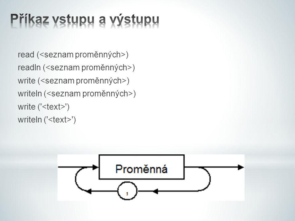 read ( ) readln ( ) write ( ) writeln ( ) write (' ') writeln (' ')