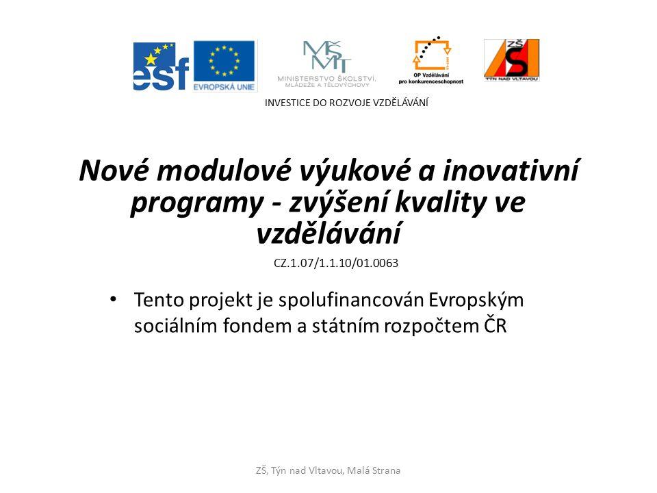 Nové modulové výukové a inovativní programy - zvýšení kvality ve vzdělávání Tento projekt je spolufinancován Evropským sociálním fondem a státním rozpočtem ČR INVESTICE DO ROZVOJE VZDĚLÁVÁNÍ ZŠ, Týn nad Vltavou, Malá Strana CZ.1.07/1.1.10/01.0063