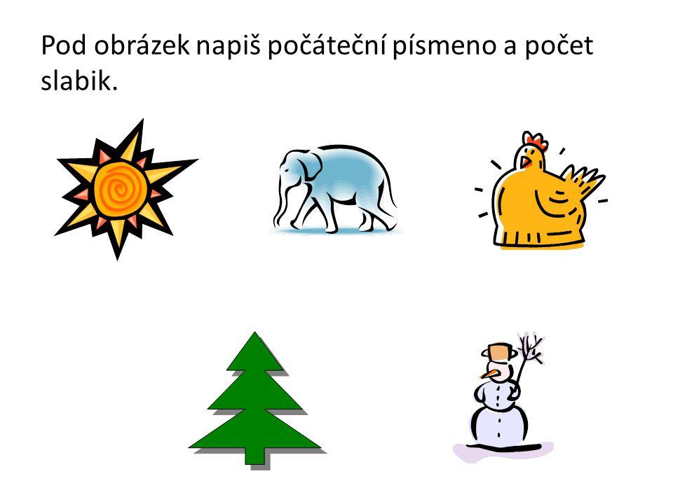 Řešení S - sluníčko (3 slabiky) nebo slunce (2 slabiky) S - slon (1 slabika) S - slepice (3 slabiky) S - strom (1 slabika) S - sněhulák (3 slabiky)