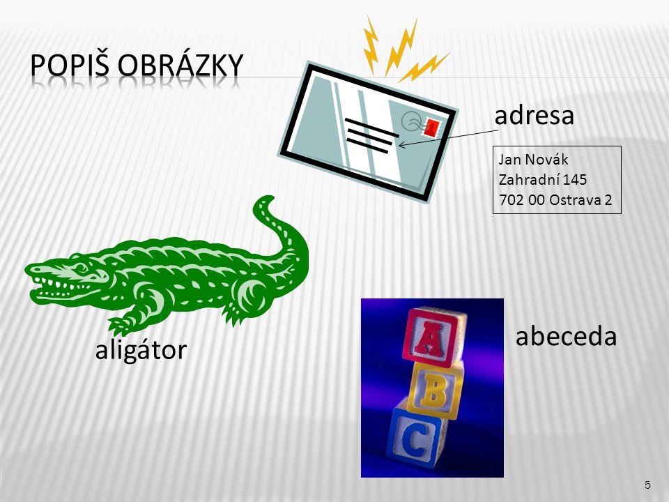 adresa 5 aligátor abeceda Jan Novák Zahradní 145 702 00 Ostrava 2