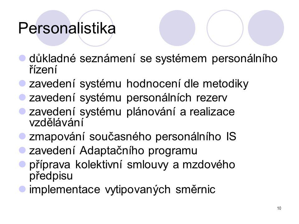 10 Personalistika důkladné seznámení se systémem personálního řízení zavedení systému hodnocení dle metodiky zavedení systému personálních rezerv zave