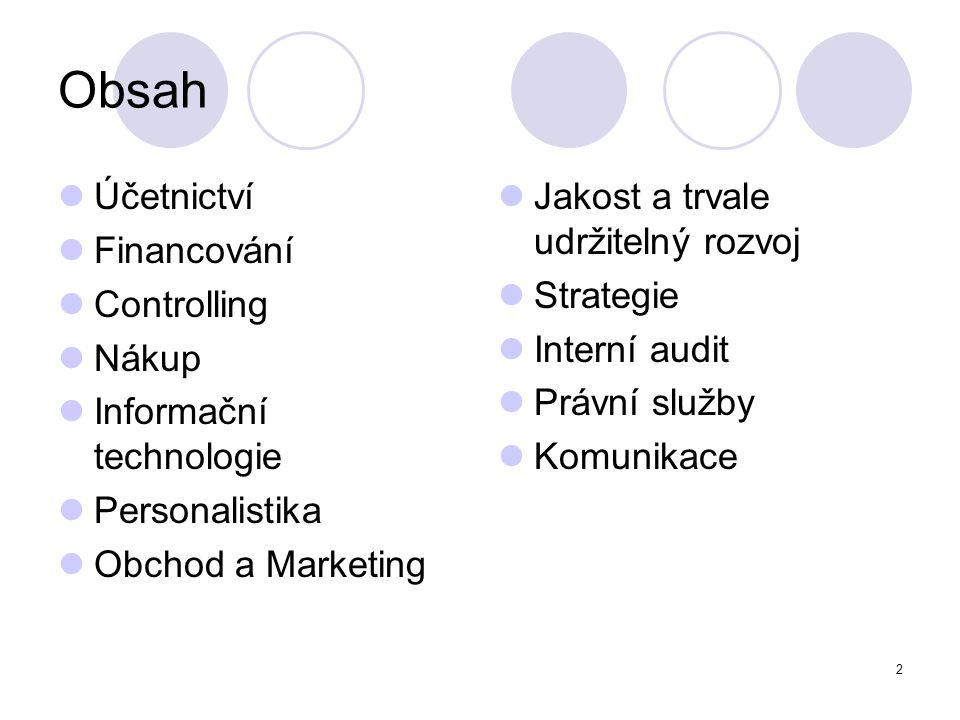 2 Obsah Účetnictví Financování Controlling Nákup Informační technologie Personalistika Obchod a Marketing Jakost a trvale udržitelný rozvoj Strategie