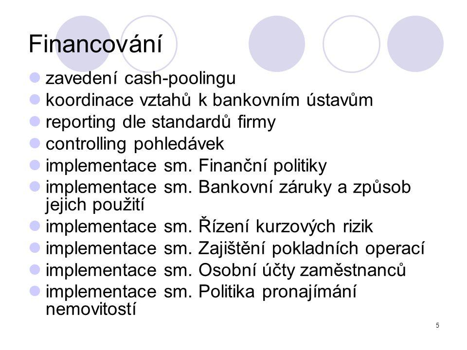 5 Financování zavedení cash-poolingu koordinace vztahů k bankovním ústavům reporting dle standardů firmy controlling pohledávek implementace sm. Finan
