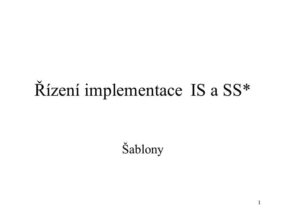 1 Řízení implementace IS a SS* Šablony