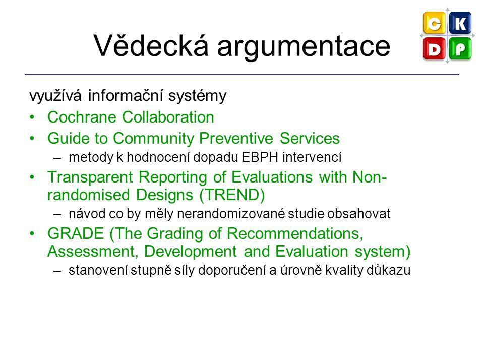 Hodnocení důkazů pro VZ Systematické přehledy a metaanalýzy Odhady rizika (risk assessment) Ekonomické studie (cost-effectiveness…) Surveillance (průběžný, systematický sběr dat, jejich analýza, vyhodnocení a sdílení) Konsenzuální konference Expertní komise (doporučené postupy pro VZ)