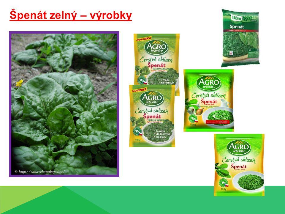 Špenát zelný – výrobky