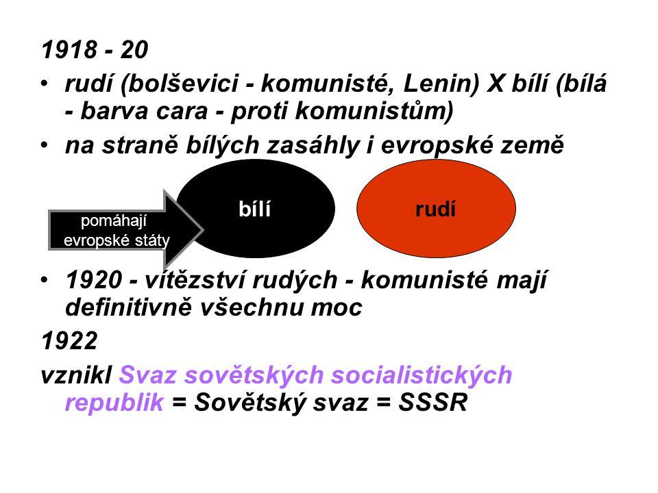 1918 - 20 rudí (bolševici - komunisté, Lenin) X bílí (bílá - barva cara - proti komunistům) na straně bílých zasáhly i evropské země 1920 - vítězství