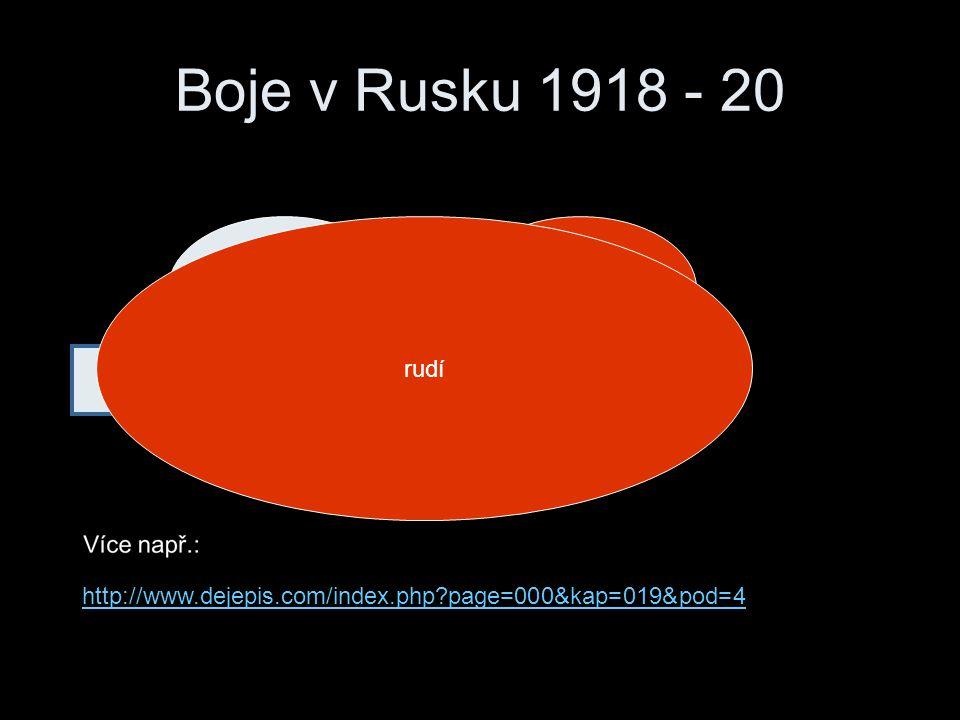 Boje v Rusku 1918 - 20 bílírudí pomáhají evropské státy rudí http://www.dejepis.com/index.php?page=000&kap=019&pod=4