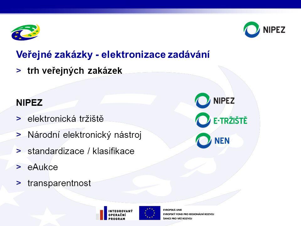 >trh veřejných zakázek NIPEZ >elektronická tržiště >Národní elektronický nástroj >standardizace / klasifikace >eAukce >transparentnost Veřejné zakázky - elektronizace zadávání
