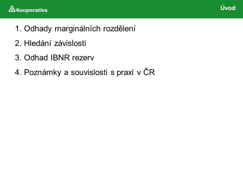 1.Odhady marginálních rozdělení 2.Hledání závislosti 3.Odhad IBNR rezerv 4.Poznámky a souvislosti s praxí v ČR
