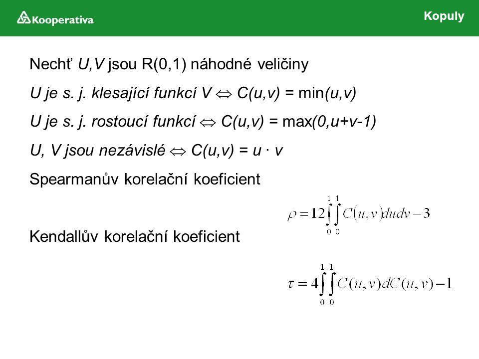 Kopuly Nechť U,V jsou R(0,1) náhodné veličiny U je s.