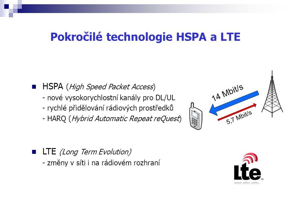 Pokročilé technologie HSPA a LTE HSPA (High Speed Packet Access) - nové vysokorychlostní kanály pro DL/UL - rychlé přidělování rádiových prostředků -